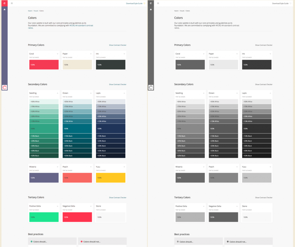 Two screenshots of our colors page, with the left being in full color and the right being displayed monochrome