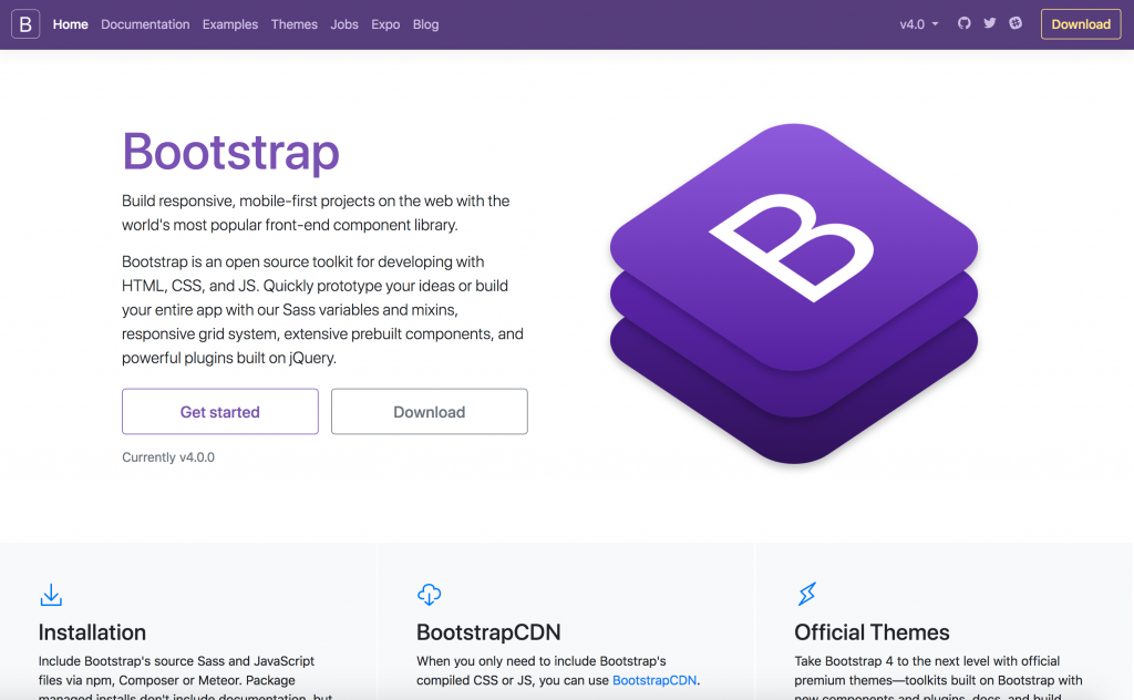 A screenshot of the Bootstrap website