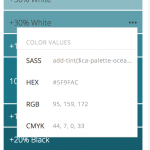 A screenshot of the dropdown menu showing color values in SASS, HEX, RGB and CMYK formats