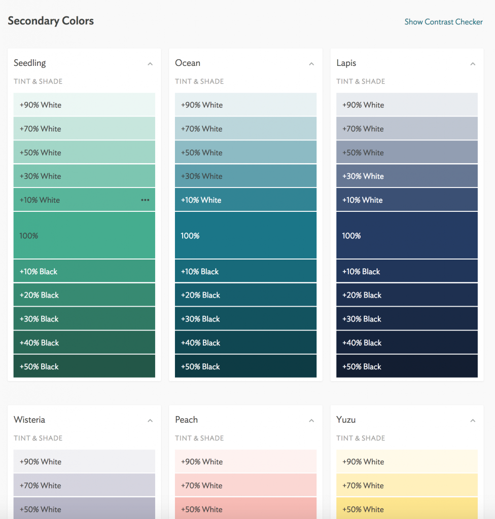 A screenshot of the various tints and shades of 3 secondary colours, seedling, ocean and lapis