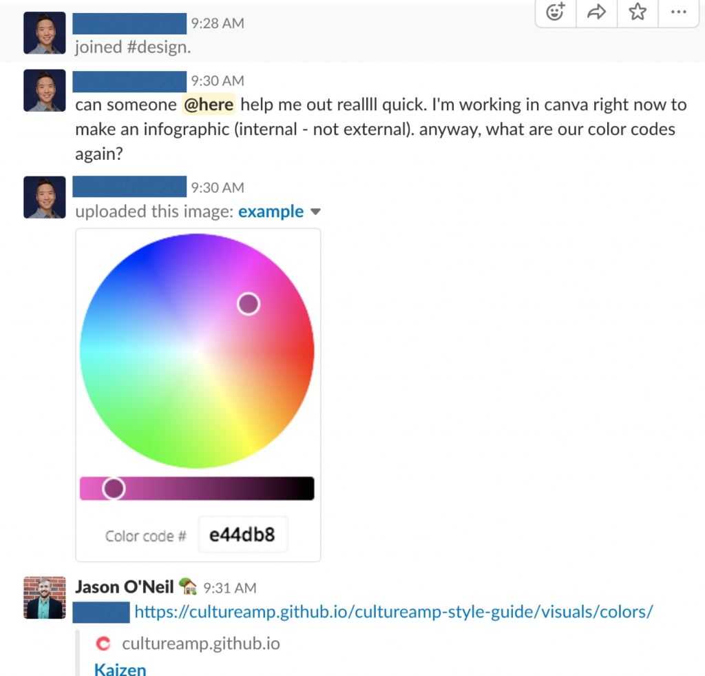 A screenshot of a team chat where someone asks for the brand color codes so they can use them in Canva to design an infographic