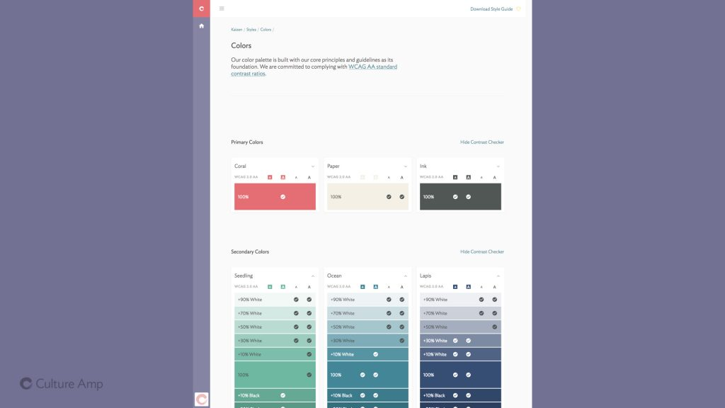 Slide: a screenshot of the color palette page used at Culture Amp