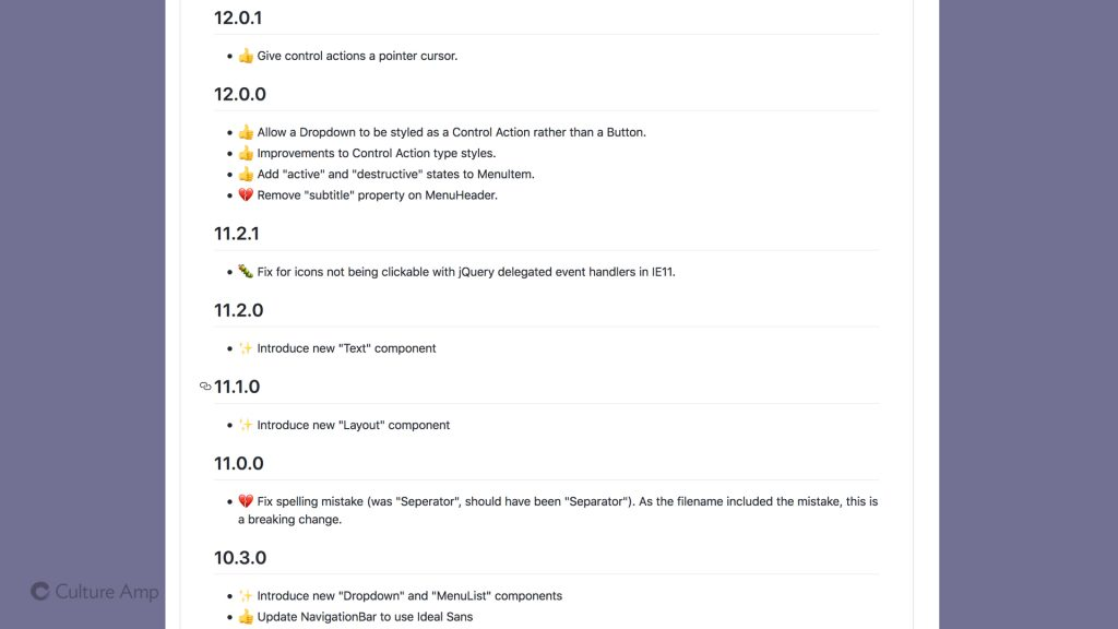 A screenshot of our changelog including many small changes, some of them breaking changes